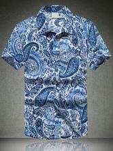 Men Summer Shirts Short Sleeve Paisley Printed Beach Shirt