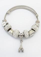 Silver Charm Bracelet Women's Beaded Eiffel Tower Pendant Bracelet
