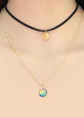 Goldene Kette Choker Frauen Doppelstrang geschichteten Anhänger Halskette