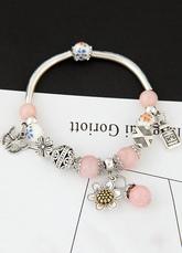 Pink Bracelet perlé Charm Bracelet femme avec pendentif