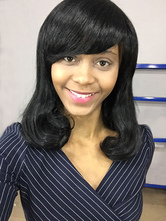 AF-S2-669825 Black Human Hair Wigs African American Side Swept Bangs Curly Hair Wigs