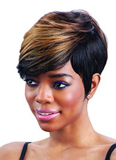 Anime Costumes AF-S2-661609 Blond Short Synthetic Wigs For Black Women Side Swept Highlighting Tousled Cute Short Wigs