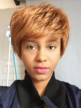 AF-S2-669827 Human Hair Wigs African American Blonde Layered Short Hair Wigs With Bangs