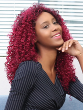 AF-S2-667633 Women's Hair Wigs African American Dark Red Corkscrew Curls Tousled Synthetic Wigs