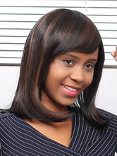 AF-S2-667629 Short Hair Wigs African American Deep Brown Heat Resistant Fiber Wigs With Side Swept Bangs