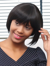 Anime Costumes AF-S2-667631 Black Hair Wigs African American Short Straight Bob Heat Resistant Fiber Wigs With Bangs