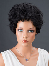 Anime Costumes AF-S2-662789 Black Hair Wigs Women's Short Curly Synthetic Wigs