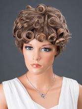 Anime Costumes AF-S2-662791 Women's Hair Wigs Taupe Short Layered Curly Synthetic Wigs