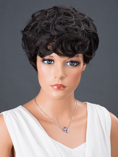 AF-S2-662793 Women's Hair Wigs Black Short Curly Synthetic Wigs
