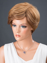 AF-S2-662797 Brown Hair Wigs Women's Short Side Bangs Straight Synthetic Wigs