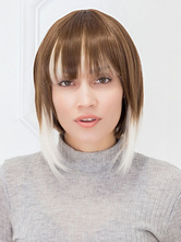 AF-S2-662819 Women's Hair Wigs Brown Short Straight Bobs Synthetic Wigs With Bangs
