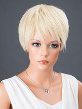 Anime Costumes AF-S2-662821 Women's Hair Wigs Light Blonde Short Straight Synthetic Wigs With Bangs