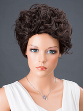 AF-S2-662809 Black Hair Wigs Women's Short Curly Synthetic Wigs