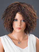 AF-S2-662563 Brown Hair Wigs Women's Short Corkscrew Curls Synthetic Hairs