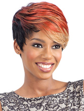 AF-S2-669797 Women's Hair Wigs Orange Short Side Bangs Synthetic Wigs