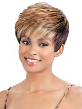 AF-S2-668973 Short Hair Wigs Light Apricot Tousled Side Swept Bangs Synthetic Wigs