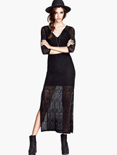 Maxi Lace Dress Black V Neck Women's Illusion 3/4 Sleeve Long Dress