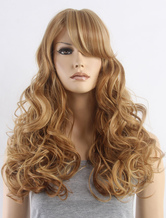 AF-S2-662837 Blonde Hair Wigs Women's Long Curly Side Bangs Synthetic Wigs