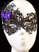 Sexy Lace Mask Women's Hallow Out Purple Flowers Black Eye Patch