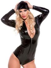 Pole Dancing Bodysuit Black PU Zipper Plunging Long Sleeve Women's Sexy Clubwear