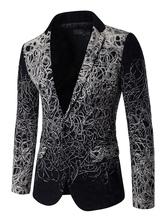 Black Casual Blazer Turndown Collar Printed Single Breasted 2021 Blazer For Men