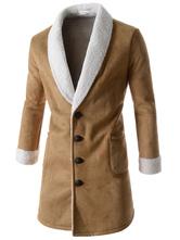 Khaki Winter Coat Suede Turndown Collar Long Sleeve Slim Fit Casual Outerwear