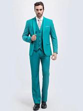 Tuxedo Wedding Suits Formal Center Vent Notch Laple Men's Turquoise Groom Suits