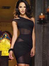 Fascinante robe de club en polyester noir à demi-transparence avec dentelle à une épaule