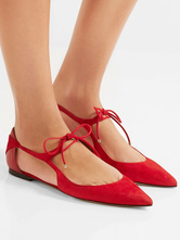 Black Ballet Flats Pointed Toe Women's Lace Up Flat Shoes