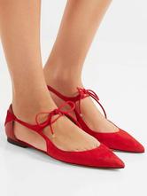 Sapatilhas pretas apontam laço Toe feminino sapatos plana