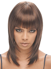 Anime Costumes AF-S2-668369 Women's Brown Wigs Straight Shoulder Length Synthetic Wigs With Blunt Fringe