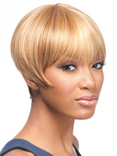 Anime Costumes AF-S2-668367 Women's Short Wigs Blond Boycut Synthetic Hair Wigs With Bangs