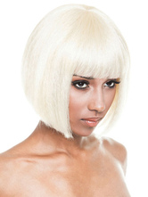 AF-S2-668365 Women's Bob Wigs Ecru White Straight Synthetic Hair Wigs With Blunt Fringe