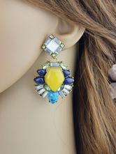 Orecchini di moda bucato chic & moderni in lega d'acciaio gialli con cristalli cerchio donna