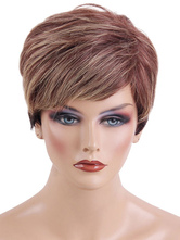 AF-S2-669391 Human Hair Wigs Short Straight Women's Side Parting Tan Hair Wigs