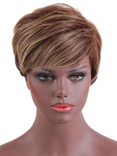 Anime Costumes AF-S2-669393 Human Hair Wigs Short Straight Women's Side Parting Tan Hair Wigs