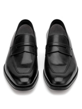 Leather Dress Shoes Men's Black Square Toe Slip On Business Casual Shoes