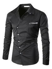 Men's Black Shirt Turndown Collar Long Sleeve Regular Fit Casual Shirt