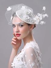 White Wedding Fascinator Hat Royal Birdcage Veil Flowers Applique Retro Bridal Headpieces
