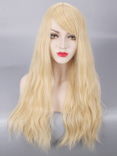 AF-S2-669779 Curly Hair Wigs Long Beige Side Swept Bangs Women's Synthetic Hair Wigs