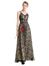 Vestido largo de organza negro con tirantes Color liso de encaje sin mangas estilo moderno