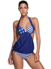 Tankini Bathing Suits Black Halter Sleeveless Printed Two Piece Swimsuit For Women