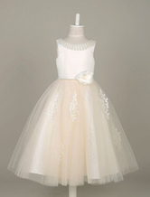 Flower Girl Dresses Lace Applique Tulle Pearls Beading Tutu Dress Ivory Sleeveless Flower Toddler's Dinner Dress