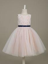 Tutu Flower Girl Dresses Champagne Lace Tulle Sleeveless Sash A Line Toddler's Dinner Dress