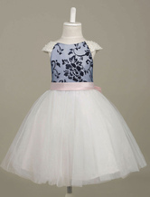 Flower Girl Dresses Pearls Beaded Tutu Dress Tulle Contrast Color Printed A Line Ribbon Bow Sash Pageant Dress