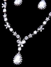 01c3039aff16 ... Set de joyería para boda Pendientes de clip de metal plateado estilo  clásico para chicas ...