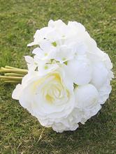 White Wedding Bouquet Silk Flowers Hand Tied Bridal Bouquet