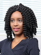 AF-S2-669815 Black Hair Wigs African American Spiral Curls Centre Parting Synthetic Wigs