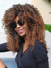 AF-S2-669807 Deep Brown Hair Wigs African American Tousled Corkscrew Curls Synthetic Wigs