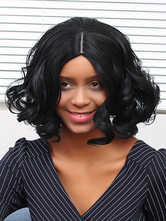 AF-S2-669803 Black Hair Wigs African American Curly Centre Parting Synthetic Hair